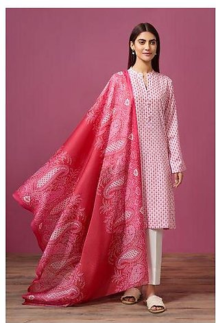 41907535- Printed Lawn & Voil 2PC