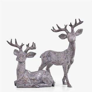 ANTHRACITE DEER ALLY DUO SCULPTURE