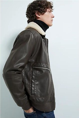 FAUX LEATHER JACKET WITH FAUX SHEARLING COLLAR