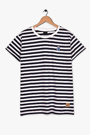 STRIPED T-SHIRT WITH CONTRASTING LOGO