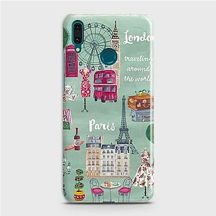Huawei Y7 2019 Cover - London, Paris, New York ModernPrinted Hard Case with Lif…