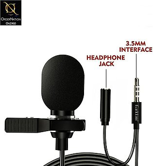 Black - Earldom ET-E34 - 3.5mm Mini Microphone And 3.5mm Female With Clip