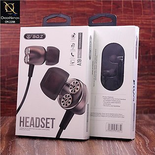 BQZ A19 Wired Metal Handsfree with Microphone - Black