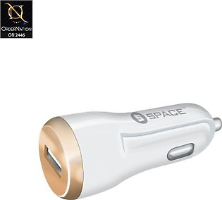 Car Charger CC-170 - White - Space Adaptive Fast Car Charger 2.4A