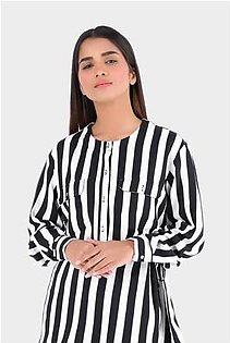 Outfitters Women's Blue and White Shirt
