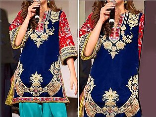 2-Pcs Heavy Embroidered Blue Lawn Dress 2020