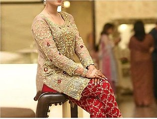 Heavy Embroidered Chiffon Wedding Dress with Embroidered Trouser