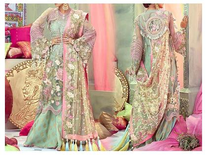 Luxury Embroidered Net Bridal Dress with Embroidered Net Dupatta
