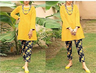 2-Pcs Heavy Sequins Embroidered Lawn Dress with Embroidered Trouser