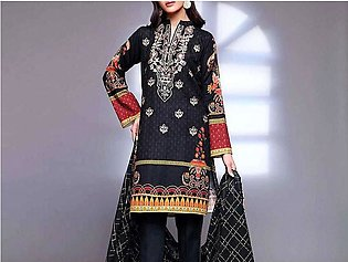Elegant Embroidered Black Lawn Suit with Chiffon Dupatta