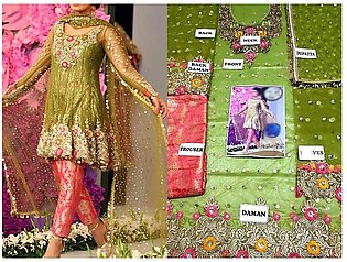 Embroidered Net Bridal Dress with Jamawar Trouser