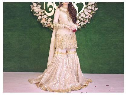 Heavy Embroidered Chiffon Bridal Dress