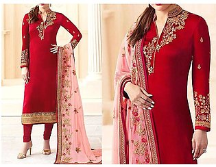 Embroidered Red Chiffon Party Dress