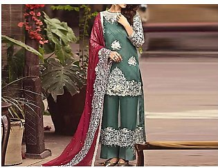Heavy Embroidered Chiffon Party Dress