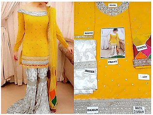 Embroidered Chiffon Yellow Mehndi Dress
