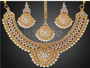 Pearls Golden Jewellery Set with Matha Patti