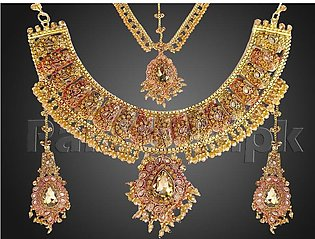Heavy Bridal Necklace with Earrings and Matha Patti