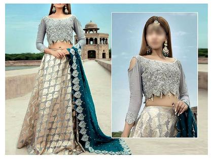 Luxury Embroidered Chiffon Bridal Dress with Organza Lehenga