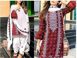 Traditional Embroidered Lawn Dress with Lawn Dupatta
