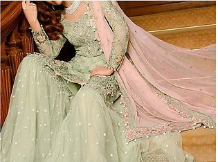 Heavy Embroidered Chiffon Dress with Net Palazzo Trouser