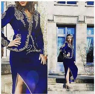 Branded Royal Blue Formal Evening Dresses With Long Sleeves 2019 Gold Lace Ve...