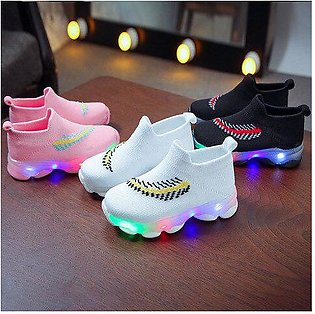 Branded Winter Girls Shoes Sports LED Weave Baby Tenis Casual Breathable Kids...