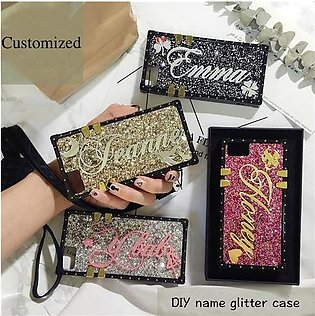Branded Unique Custom name letter sparkle square phone case for iPhone 11 7 8...