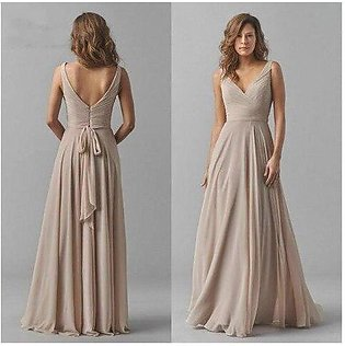 Branded Vintage Chiffon Bridesmaid Dresses V-Neck Wedding Party Dress Pleat S...