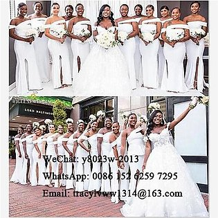 Branded White Mermaid Bridesmaid Dresses Sexy Side Split 2020 Long African Wo...