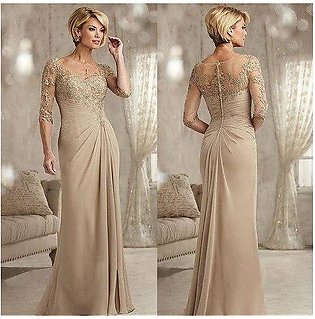 Branded Champagne Mother of The Bride Dresses Plus Size 3/4 Sleeves lace  Bea...