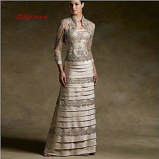 Branded Lace Mother of the Bride Dresses for Weddings with Jacket Plus Size P...