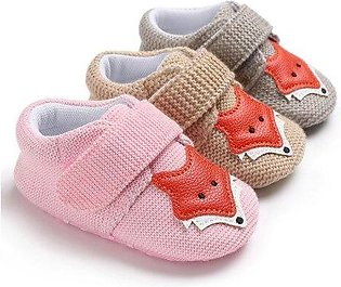 Branded New Knit Fox Baby Girl First Walkers Shoes Animal Cartoon Cute Newbor...