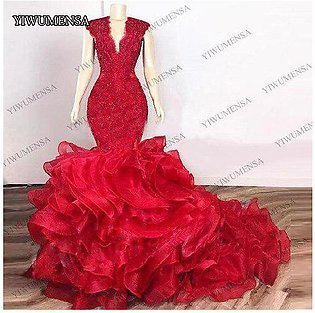 Branded Dark Red Cascading Ruffles Mermaid Long Prom Dresses 2020 Lace Beaded...