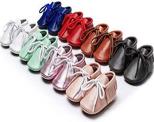 Branded New style Genuine Leather Lace-up toddler baby shoes 8 color Hard sol...