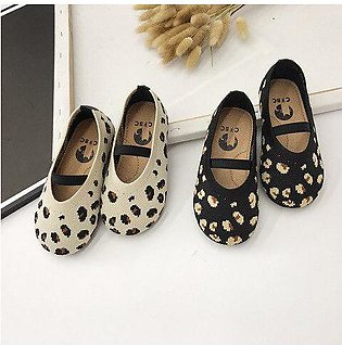 Branded WLG  little girl shoes spring autumn kids leopard printed beige black...