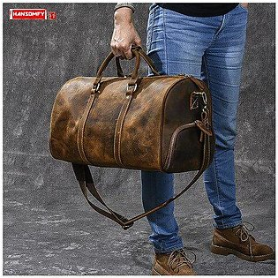 Branded Retro large-capacity men's handbags male crazy horse leather travel b...