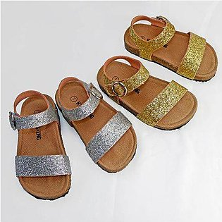 Branded 2020 New Summer Giltter Kids Sandals Corks Girls Shoes HOOK&LOOP PU L...