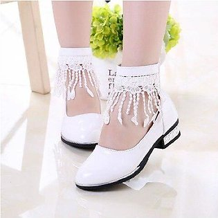 Branded Tassel Girls Princess Shoes Flower Girl White Leather Shoes Kids Litt...