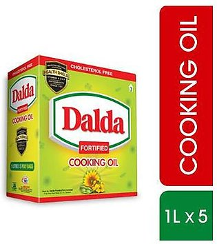 Dalda Cooking Oil - Pouch 1 Litre x 5 Packs