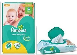 Free Pampers Baby Wipes 56s with Pampers 2 Mini 3-8kg 80`s
