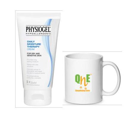 Free QnE Mug with Physiogel - Daily Moisture Therapy Cream for Dry and Sensitive Skin 75ml