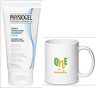 Free QnE Mug with Physiogel - Daily Moisture Therapy Cream for Dry and Sensit...