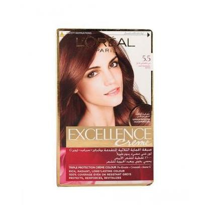LOreal Paris Excllence Creme Colour 5.5 Light Mahogany Brown Pack of 1