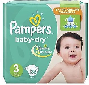 Pampers Baby Diapers Medium Size 3 36 Pcs (6-10 Kg)