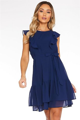 Navy Chiffon Frill Dress