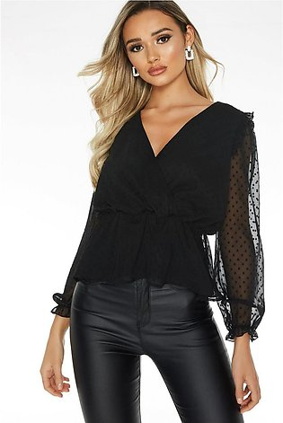 Black Mesh Peplum Top