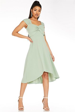 Sage Sweetheart Dip Hem Dress