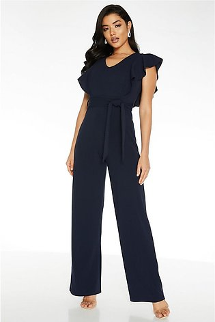 Navy Frill Palazzo Jumpsuit