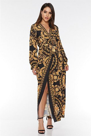 Black And Gold Scarf Print Wrap Maxi