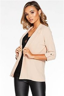 Stone 3/4 Sleeve Button Front Suit Jacket